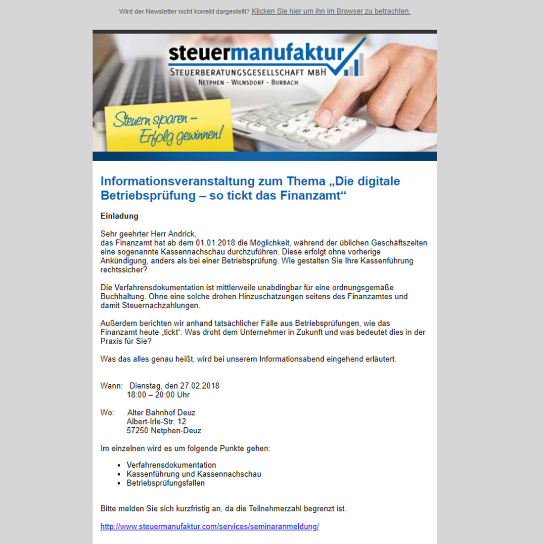 Steuermanufaktur Newsletter