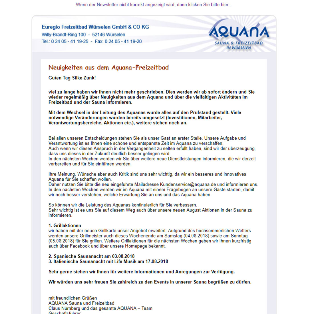 aquana Newsletter