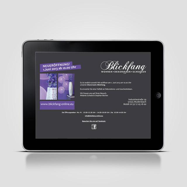 Blickfang Internetseite ipad Referenzen