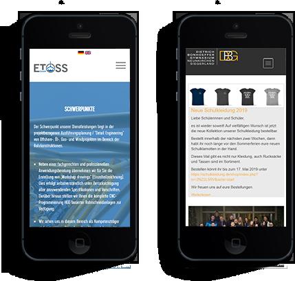 Webseiten Zwei Handy