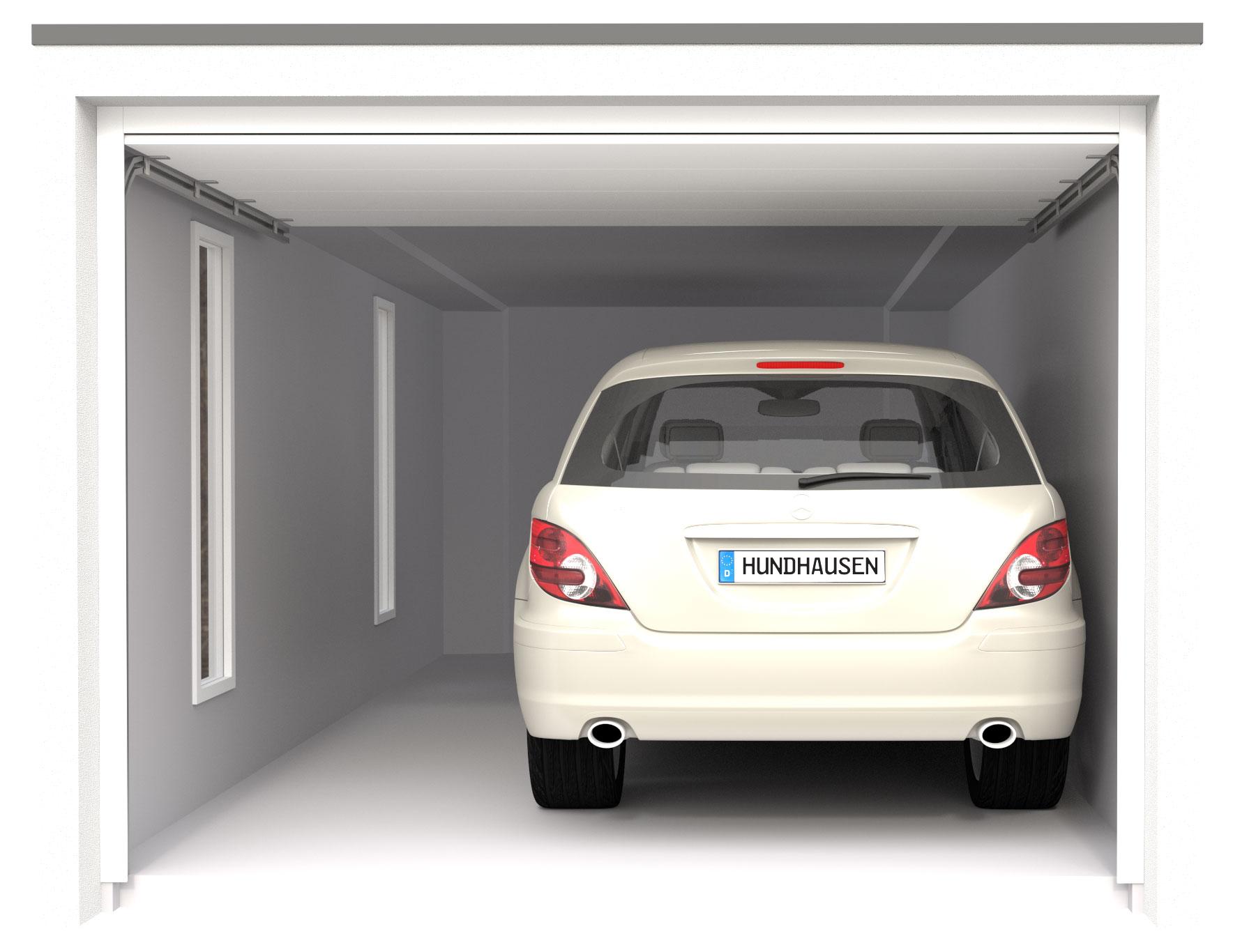 garage mit auto von hinten Referenzen als 3-D visualisiert